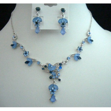 Victorian Sapphire & Aqua Blue Rhinestones Necklace & Earrings Set