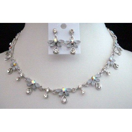 Necklace Set Opal White Enamel & Crystal Necklace & Earrings Set