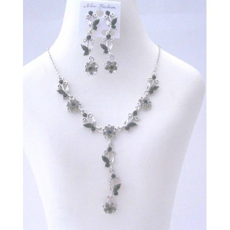 Vintage Jewelry Set Adorned w/ Brilliant Jet Crystals