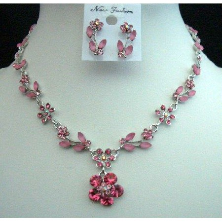 Unique Vintage Looking Necklace Set Adorned Spectacular Pink Crystals