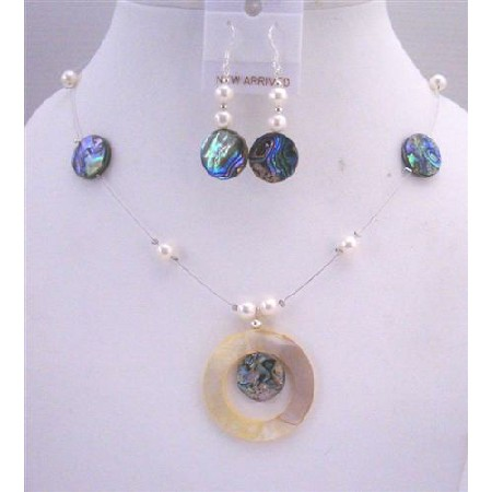 Abalone Shell Jewelry Set Shell Round Pendant w/ Freshwater Pearl Necklace set