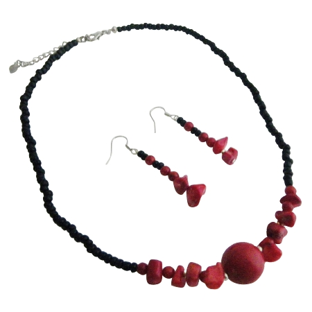 Coral Nugget Necklace Set Black Beaded Coral Nugget Choker Sets from fashionjewelryforeveryone.com