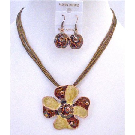 Brown Flower Pendant Enamel Ethnic Flower Traditional Jewelry Set