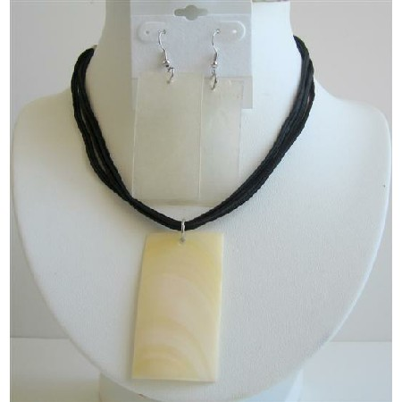 Ivory Shell Necklace Set Rectangular Shell Pendant & Shell Earrigns
