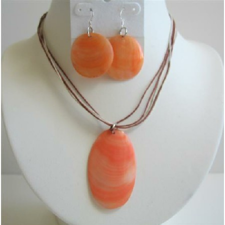 Orange Oval Shell Pendant w/ Oval Shell Earrings