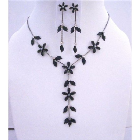 Black Jewelry Set Floral - Leaf Embedded w/ CZ Y Shaped Necklace Set