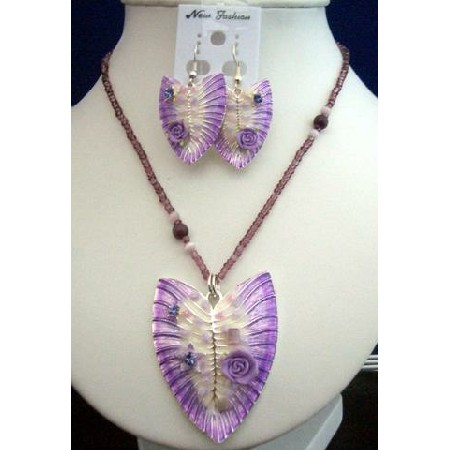 Purple Shell Enameled Necklace & Earrings