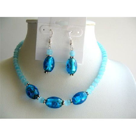Blue Millefiori Glass Venetian Aquamarine Cat Eye Faceted Bead Jewelry
