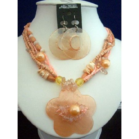 Multi Strand Necklace Set Peach Shell Flower Pendant & Round Earrings