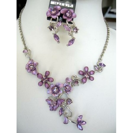Victorian Purple Enamel Flower w/ Simulated Crystals Necklace