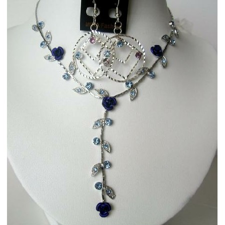 Vintage Necklace Set Adoorned w/ Brilliant Sapphire Aqua Blue Crystals