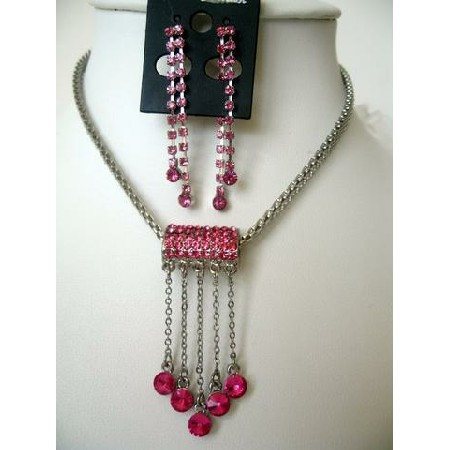 Vintage Sparkling Crystals Tassel Necklace Set Dangling Earrings Pink