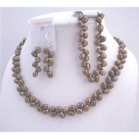 Rice Freshwater Pearl Head Drilled Metallic Brown Necklace Earrings & Stretchable Bracelet