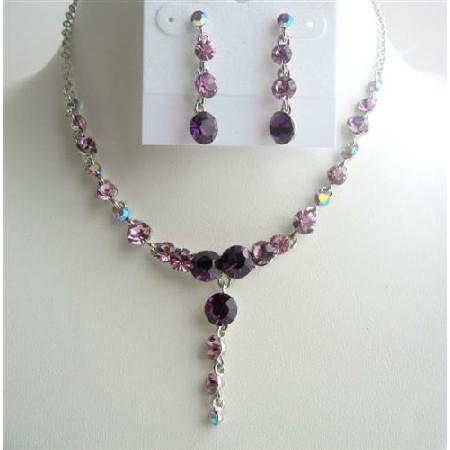 Dangling Drop Necklace Set Amethyst Crystals Stud Design Jewelry Set