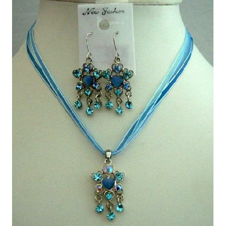 Sleek Feminine Blue Multi Strands Necklace Set w/ Dangling Pendant