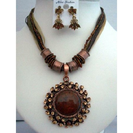 Seductive Ethnic Tribal Jewelry Multi Strands Brown Necklace Set