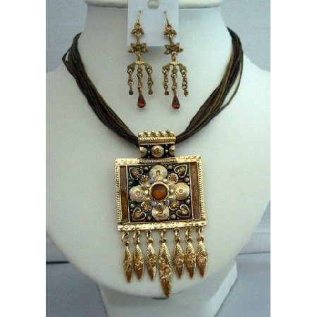 Enamel Ethnic Tribal Vintage Jewelry Sparkling Crystals Necklace Set