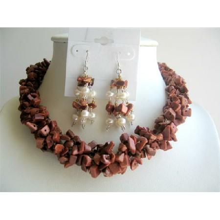 Jasper Stone Nuggets Handmade Necklace Sterling Silver jewelry Earring