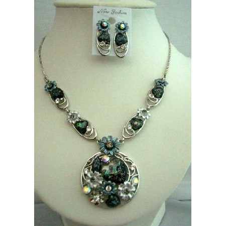 Necklace Set Dressed Up w/ Heart Shell & Enameled Painted Flower