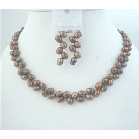 Brown Meatallic Head Drilled Freshwater Pearls Necklace w/ Earrings