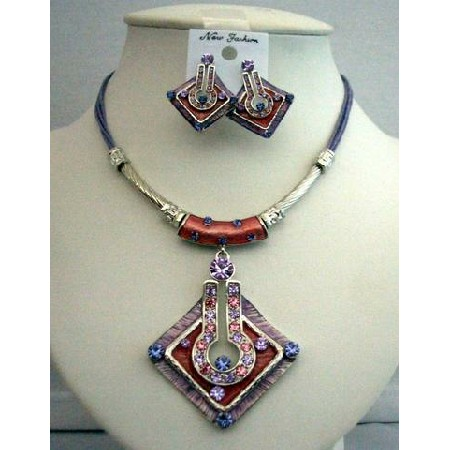 Ethnic Amethyst Necklace Set Feminie Jewelry Tribal Necklace Earrings