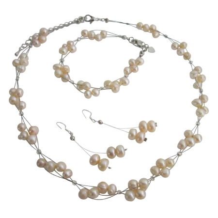 Wedding Bridal Bridesmaid Jewelry Set Peach Freshwater Pearl Wire Necklace Sets w/ Bracelet