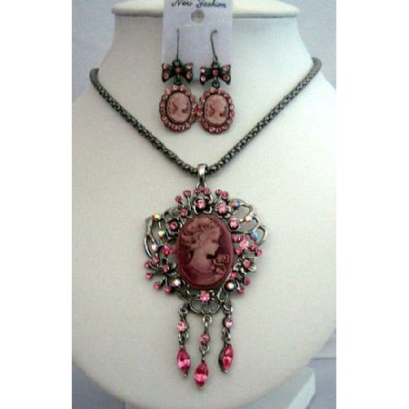 Vintage Elegant CAMEO LADY Charm & NECKLACE Set Pink