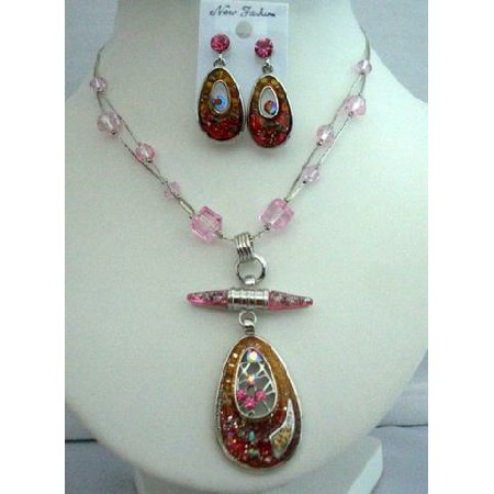 Funky Style Necklace Rhodium Pendant Self Painted Necklace & Earrings