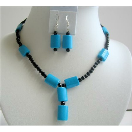 Turquoise Rectangular Black Onyx Beads Jewelry Sets