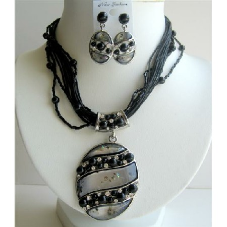 MultiStranded Black Necklace w/ Shell Painted Necklace & Earrings