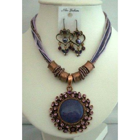 Amethyst Necklace Set Feminie Jewelry Tirbal Necklace w/ Earrings