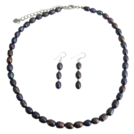 Freshwater Pearls Jewelry Set Metallic Purple Freshwater Pearl Necklace Sett