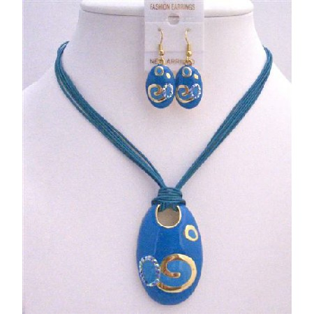 Gold Enamel Blue Pendant w/ Paint Multistranded Blue Jewelry Set