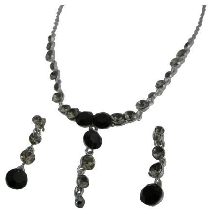 Vintage Necklace Artform Jet & Black diamondd Crystals Necklace Set