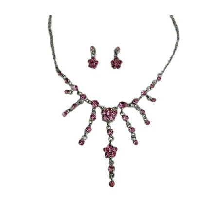 Fuchsia Bright Pink Crystals Designer Gorgeous Pink Y Necklace Earring