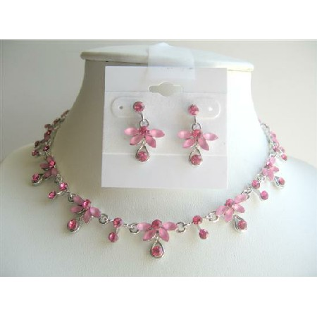 Artform Necklace Earrings Bridal Bridesmaid Pink Crystals Jewelry Set