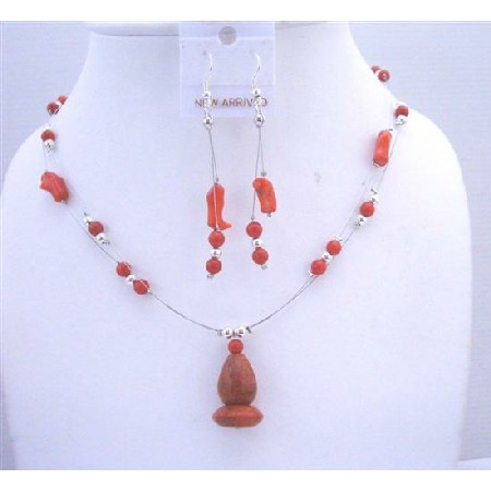 Coral Red Bead w/ Coral Pendant Double Stranded Wire Necklace Earrings