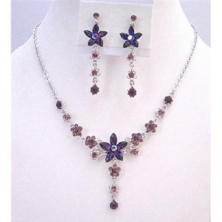 Amethyst Crystals Light & Dark Necklace Set Flower Design Jewelry Set