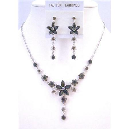Vintage Elegant Jet Crystals & Silver Plated Necklace & Earrings Set