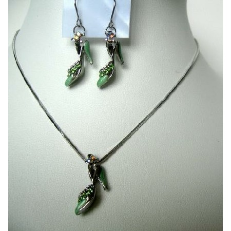 Green Enamel Clear Rhinestones Silvertone Pendant & Earrings Necklace