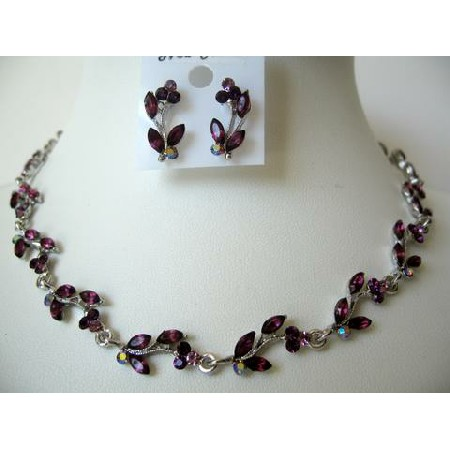 Brilliant Dark Amethyst Crystals Necklace Set