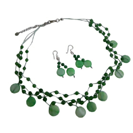Jade Green Shell Green Nugget & Fancy Beads Necklace Green Jewelry Set