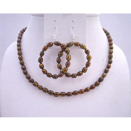 Metallic Brown Rice Freshwater Pearls Round Hoop Earrings Jewelry Set