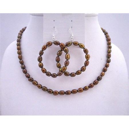 Metallic Brown Rice Freshwater Pearls Round Hoop Earrings Jewelry Set