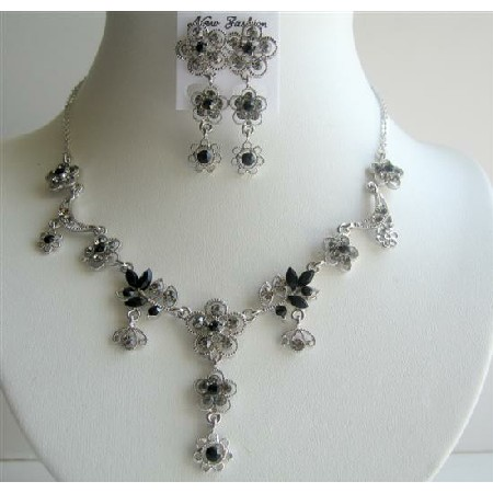 Silver Casting Necklace Set w/ Jet Crystals