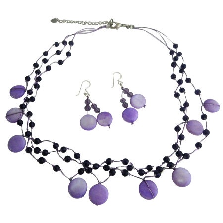Purple Shell Amethyst Nuggets & Fancy Beads Jewelry Necklace Set