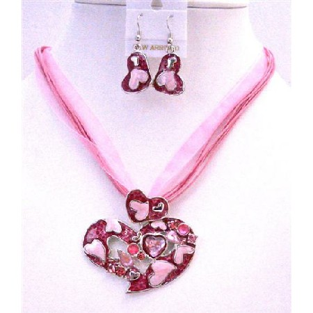 Pink Flower Pendant Jewelry Set Pink Enamel Multi Stranded Necklace