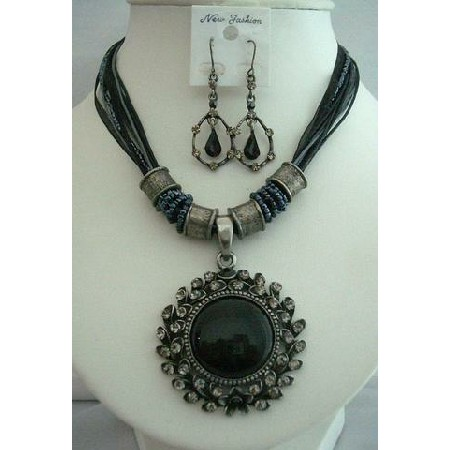 Black Jewelry Ethnic Feminine Jewelry MultiStrand Cat Eye Necklace Set