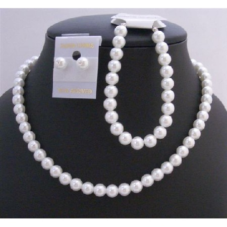 Pure White Soothing Synthetic White Pearl Wedding Jewelry Set White Pearl Complete Set