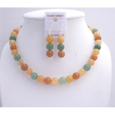 Multicolored Multifaceted Carnelian Beads Necklace Set